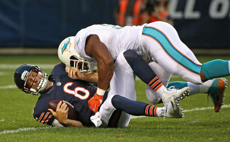 Jay Cutler L) went 4-for-7 for 42 yards last week against the Dolphins. Getty)