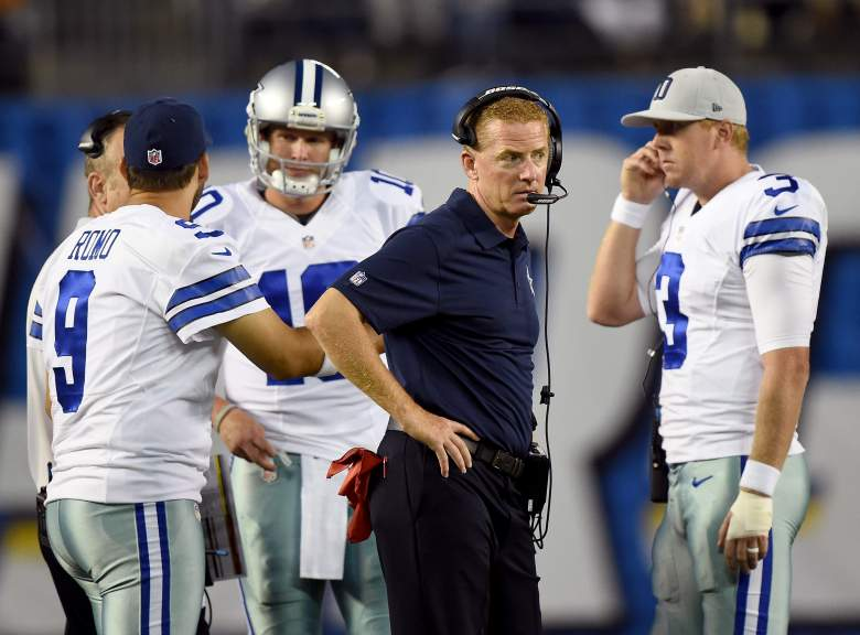 SAN DIEGO, CA - AUGUST 13: Head Coach Jason Garrett of the Dallas Cowboys stands with Tony Romo #9, Brandon Weeden #3 and Dustin Vaughan #10 of the Dallas Cowboys during the game against the San Diego Chargers at Qualcomm Stadium on August 13, 2015 in San Diego, California. (Photo by Harry How/Getty Images)