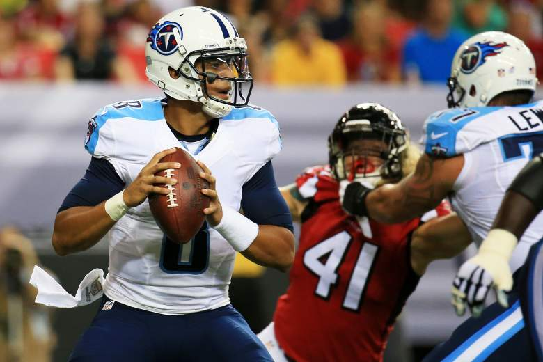 ATLANTA, GA - AUGUST 14:  Marcus Mariota #8 of the Tennessee Titans drops back to pass in the first half of a preseason game against the Atlanta Falcons at the Georgia Dome on August 14, 2015 in Atlanta, Georgia.  (Photo by Daniel Shirey/Getty Images)