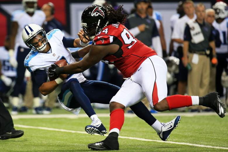 ATLANTA, GA - AUGUST 14: Marcus Mariota #8 of the Tennessee Titans is sacked by Tyson Jackson #94 of the Atlanta Falcons in the first half of a preseason game at the Georgia Dome on August 14, 2015 in Atlanta, Georgia. (Photo by Daniel Shirey/Getty Images)
