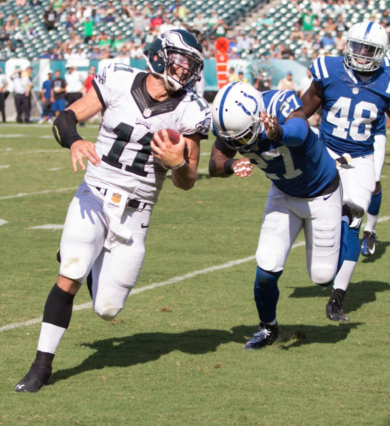 PHILADELPHIA, PA - AUGUST 16: Tim Tebow #11 of the Philadelphia Eagles runs past Winston Guy #27 of the Indianapolis Colts to score a touchdown in the fourth quarter on August 16, 2015 at Lincoln Financial Field in Philadelphia, Pennsylvania.  The Eagles defeated the Colts 36-10. (Photo by Mitchell Leff/Getty Images)