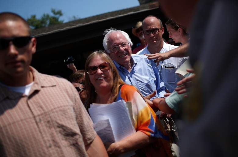 ELDRIDGE, IA - AUGUST 16: Democratic presidential candidate U.S. Sen. Bernie Sanders (I-VT) and wife Jane Sanders depart after speaking at a campaign event August 16, 2015 in Eldridge, Iowa. Sanders was scheduled for a full day of campaigning in eastern Iowa today. (Photo by Win McNamee/Getty Images)
