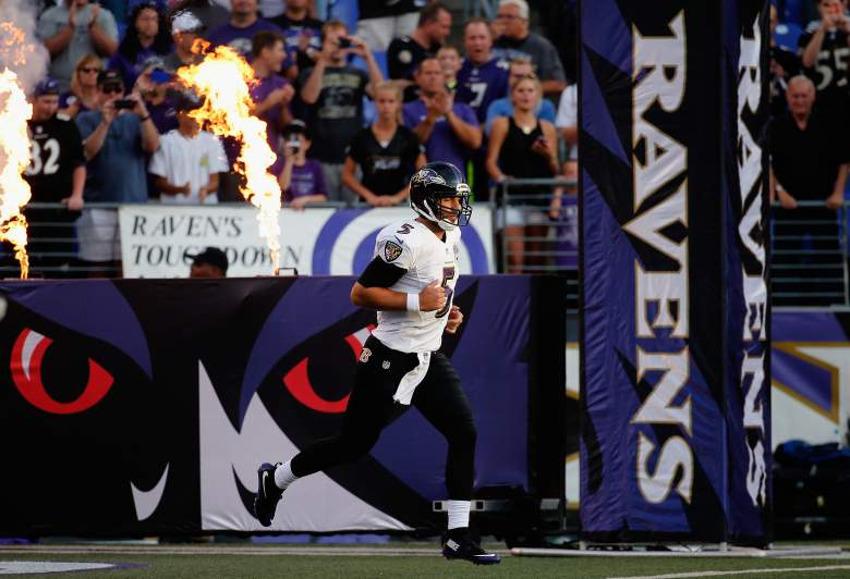 BALTIMORE, MD - AUGUST 13:  Quarterback Joe Flacco #5 of the Baltimore Ravens is introduced before the start of a preseason game against the New Orleans at M&T Bank Stadium on August 13, 2015 in Baltimore, Maryland.  (Photo by Rob Carr/Getty Images)