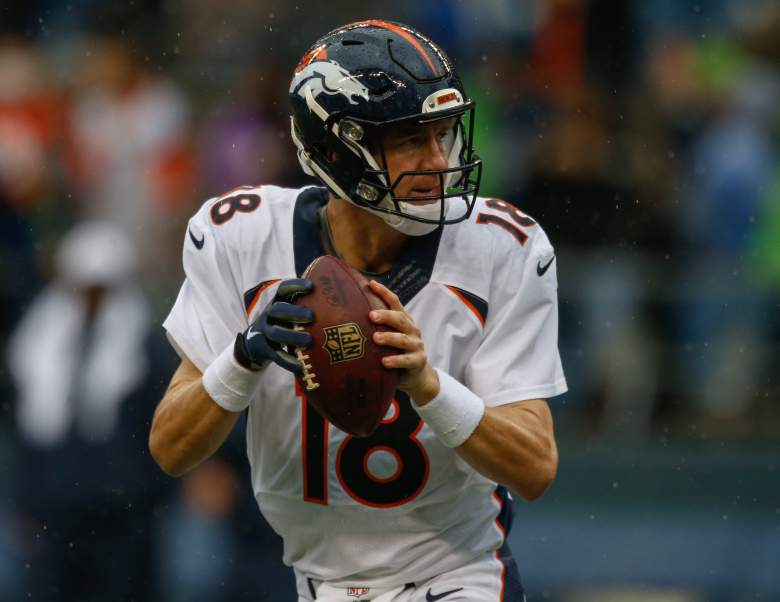 Peyton Manning drops back to pass. (Getty)