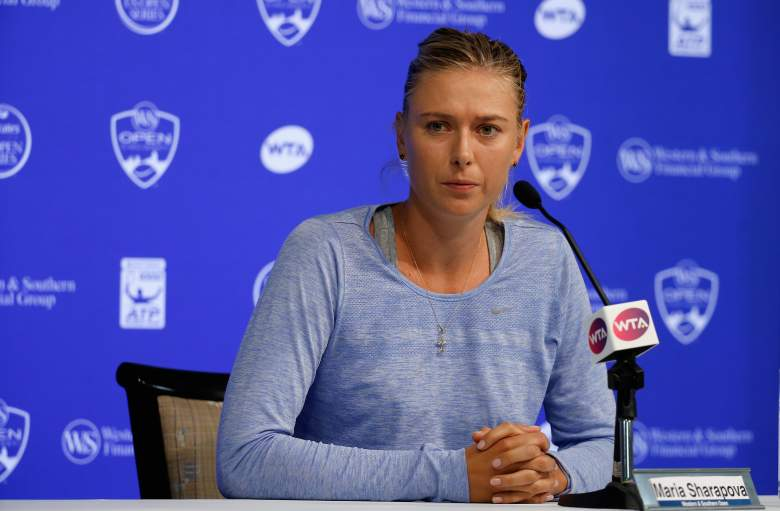 CINCINNATI, OH - AUGUST 18: Maria Sharapova of Russia addresses a news conference after withdrawing from the Western & Southern Open at the Linder Family Tennis Center on August 18, 2015 in Cincinnati, Ohio. (Photo by Rob Carr/Getty Images)