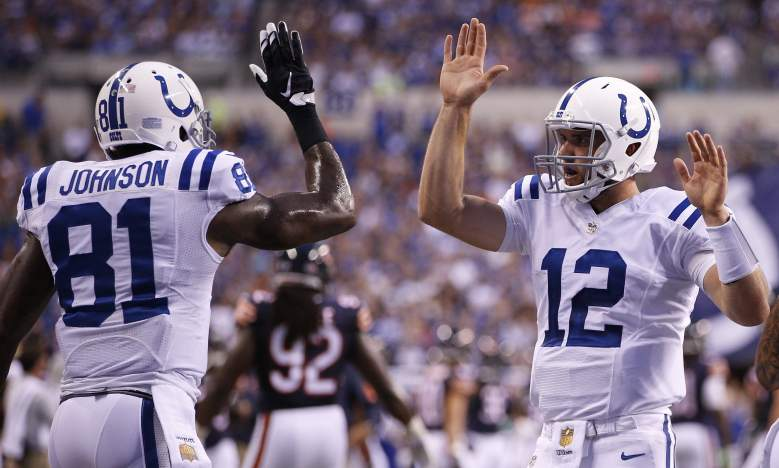 Andrew Luck and Andre Johnson look to continue to develop a rapport as the Indianapolis Colts take on the St. Louis Rams. (Getty)