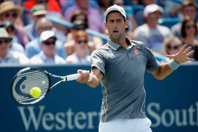 CINCINNATI, OH - AUGUST 23: Novak Djokovic of Serbia returns a shot to Roger Federer of Switzerland serves to during the mens finals of the Western & Southern Open at the Linder Family Tennis Center on August 23, 2015 in Cincinnati, Ohio. (Photo by Rob Carr/Getty Images)