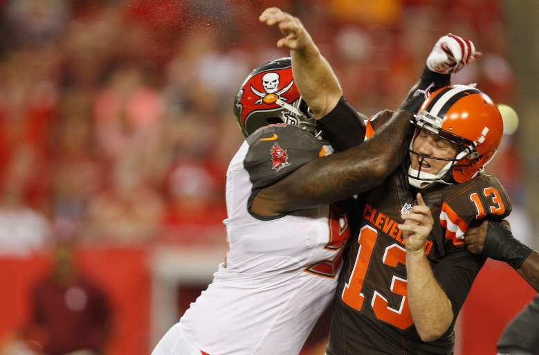 Browns quarterback Josh McCown (R) struggled against his former team, but the Browns routed the Buccaneers. (Getty)