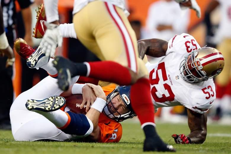 NoVarro Bowman sacks Peyton Manning. (Getty)
