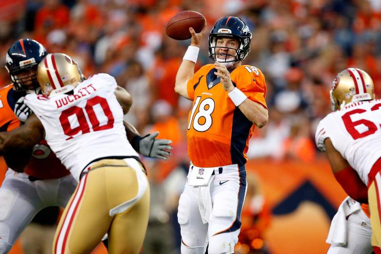Peyton Manning had some struggles against the 49ers. (Getty)