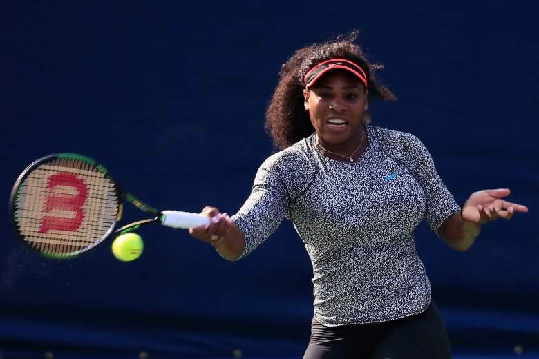 NEW YORK, NY - AUGUST 30: Serena Williams of United States, hits a ball during a practice session prior to the U.S. Open at USTA Billie Jean King National Tennis Center on August 30, 2015 in New York City. (Photo by Chris Trotman/Getty Images for the USTA)