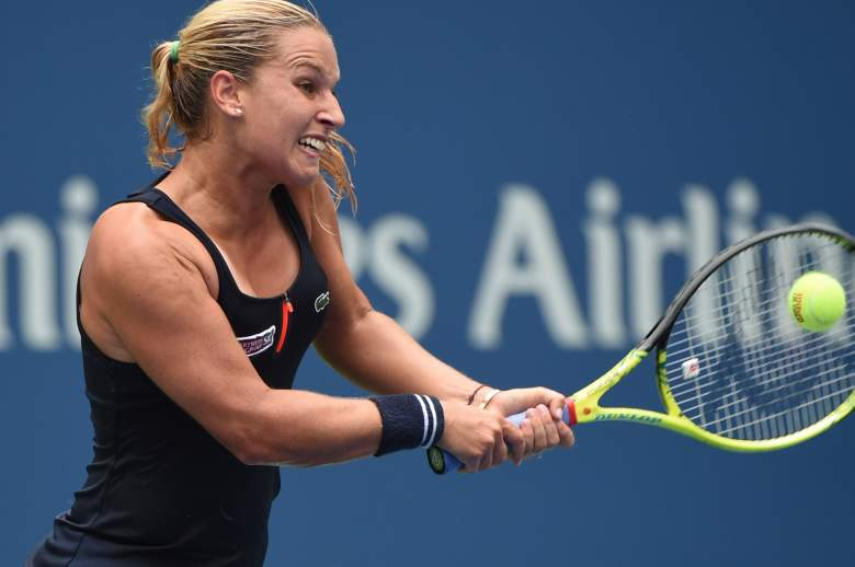 Dominika Cibulkova of Slovakia returns a shot to Ana Ivanovic of Serbia during their during their 2015 US Open Women's Singles match at the USTA Billie Jean King National Tennis Center August 31, 2015 in New York. AFP PHOTO / TIMOTHY A. CLARY (Photo credit should read TIMOTHY A. CLARY/AFP/Getty Images)