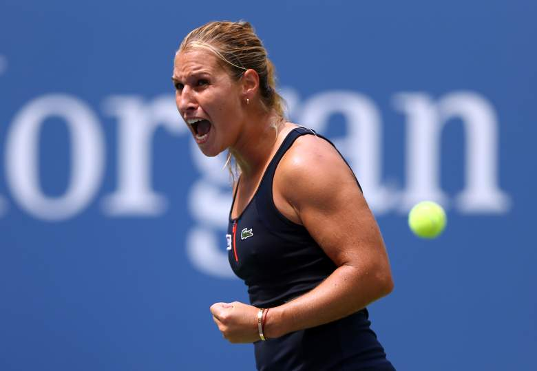 NEW YORK, NY - AUGUST 31: Dominika Cibulkova of Slovakia reacts against Ana Ivanovic of Serbia during their Women's Singles First Round match on Day One of the 2015 US Open at the USTA Billie Jean King National Tennis Center on August 31, 2015 in the Flushing neighborhood of the Queens borough of New York City. (Photo by Clive Brunskill/Getty Images)