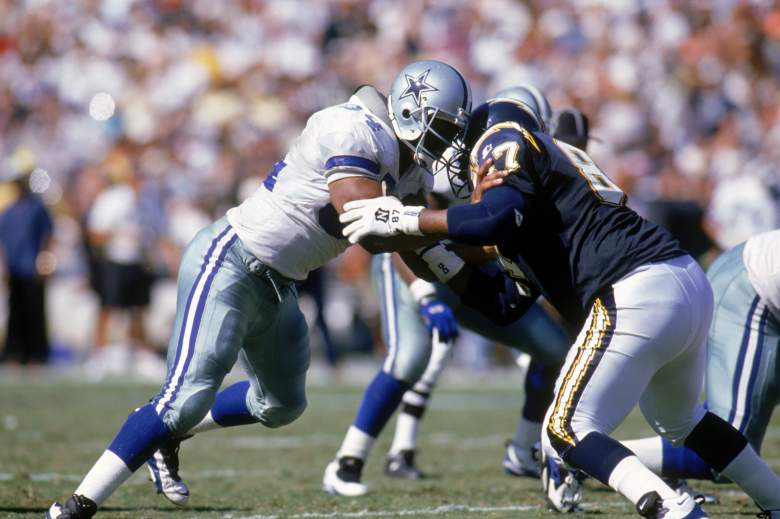 SAN DIEGO - OCTOBER 15:  Defensive end Charles Haley #94 of the Dallas Cowboys battles with Tight end Duane Young #87 of the San Diego Chargers at Jack Murphy Stadium on October 15, 1995 in San Diego, California.  The Cowboys won 23-9.  (Photo by Stephen Dunn/Getty Images)