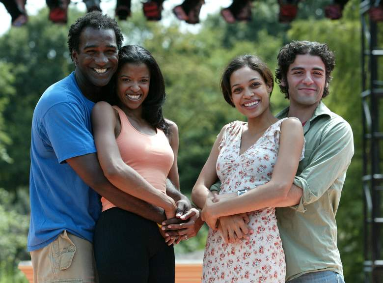 """NEW YORK - AUGUST 18: (L-R) Actors Norm Lewis, Renee Elise Goldsberry, Rosario Dawson and Oscar Isaac at the rehearsals for Shakespeare in Park's """"Two Gentleman of Verona"""" at The Delacorte Theatre on August 18, 2005 in New York City. (Photo by Peter Kramer/Getty Images)"""