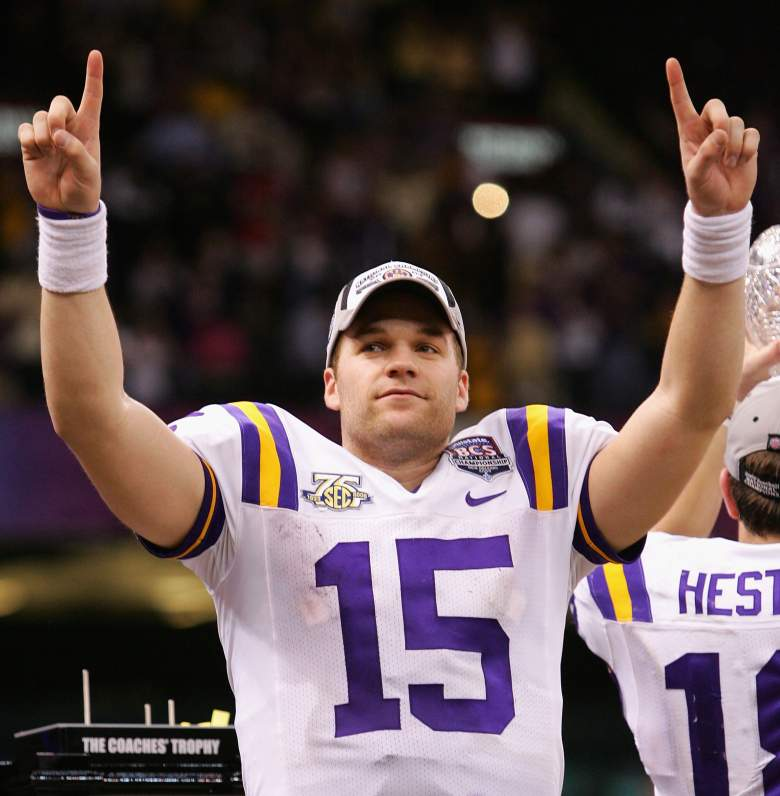 NEW ORLEANS - JANUARY 07: Quarterback Matt Flynn #15 of the Louisiana State University Tigers celebrates after defeating the Ohio State Buckeyes 38-24 in the AllState BCS National Championship on January 7, 2008 at the Louisiana Superdome in New Orleans, Louisiana. (Photo by Streeter Lecka/Getty Images)