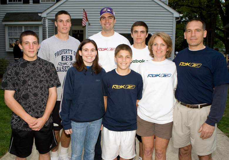 AUDUBON - APRIL 26: Former Audubon High School star quarterback Joe Flacco's family, (L-R) Brian Flacco, Mike Flacco, Stephanie Flacco, Joe Flacco, Tom Flacco, John Flacco, Karen Flacco and Steve Flacco pose April 26, 2008 in Audubon, New Jersey. Flacco was selected in the first round of the NFL Draft by the Baltimore Ravens as the 18th pick overall. (Photo by Jeff Fusco/Getty Images for Reebok)