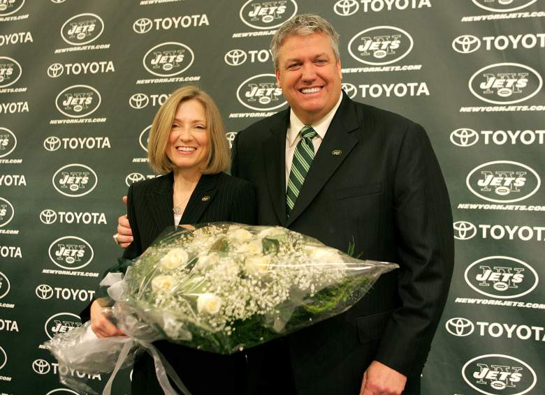 Rex and Michelle after Rex was hired by the Jets in 2009. (Getty)