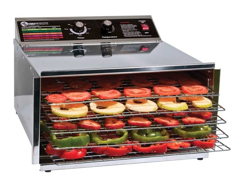 TSM Products Stainless Steel Food Dehydrator with 5 Stainless Steel Shelves, food dehydrator