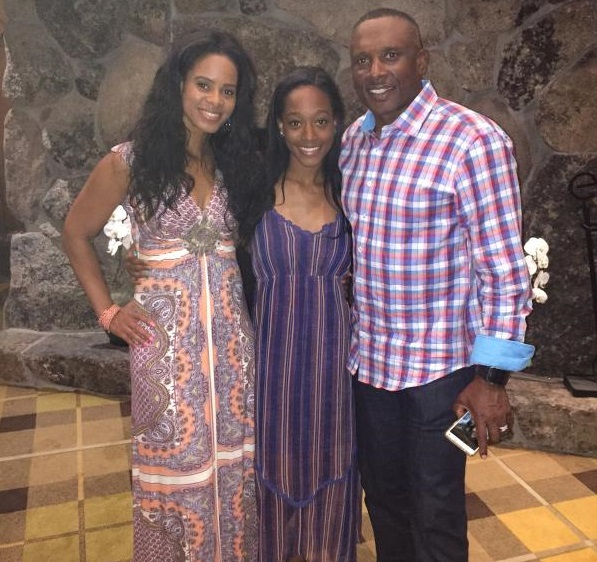 Brown, his wife and daughter posed together before a charity golf event earlier this year. (Twitter)