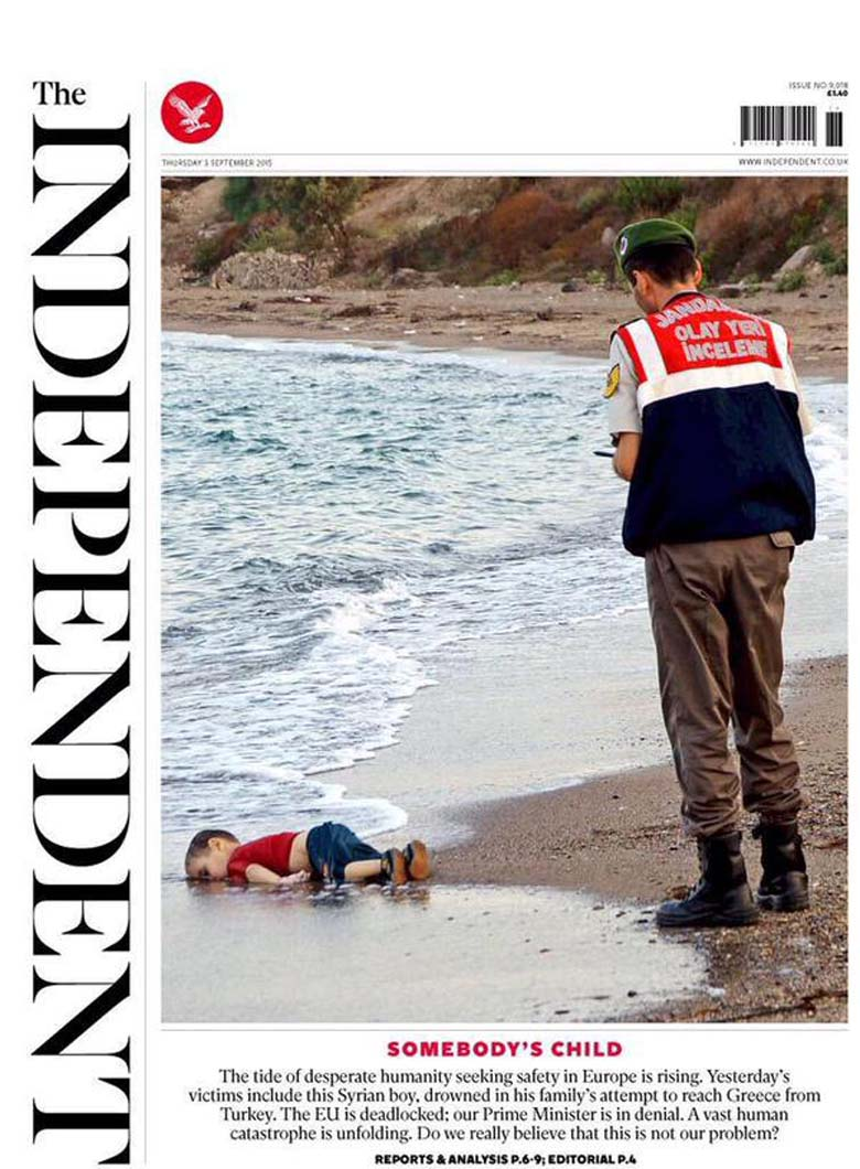 The shocking image of Kurdi being washed up on a Turkish beach has been beamed across the world. (The Independent)