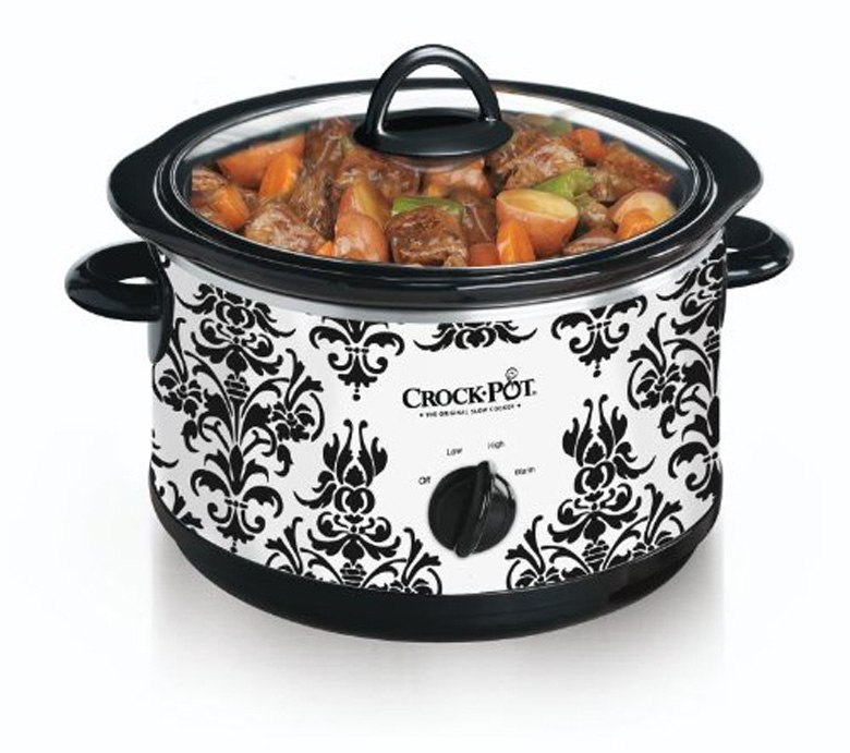 Crock Pot SCR450-PT 4-1/2-Quart Slow Cooker, Black Demask Pattern, crock pot, Crock-Pot