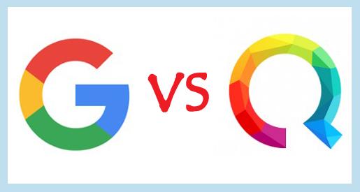 Google vs Qwant, Google and Qwant logos