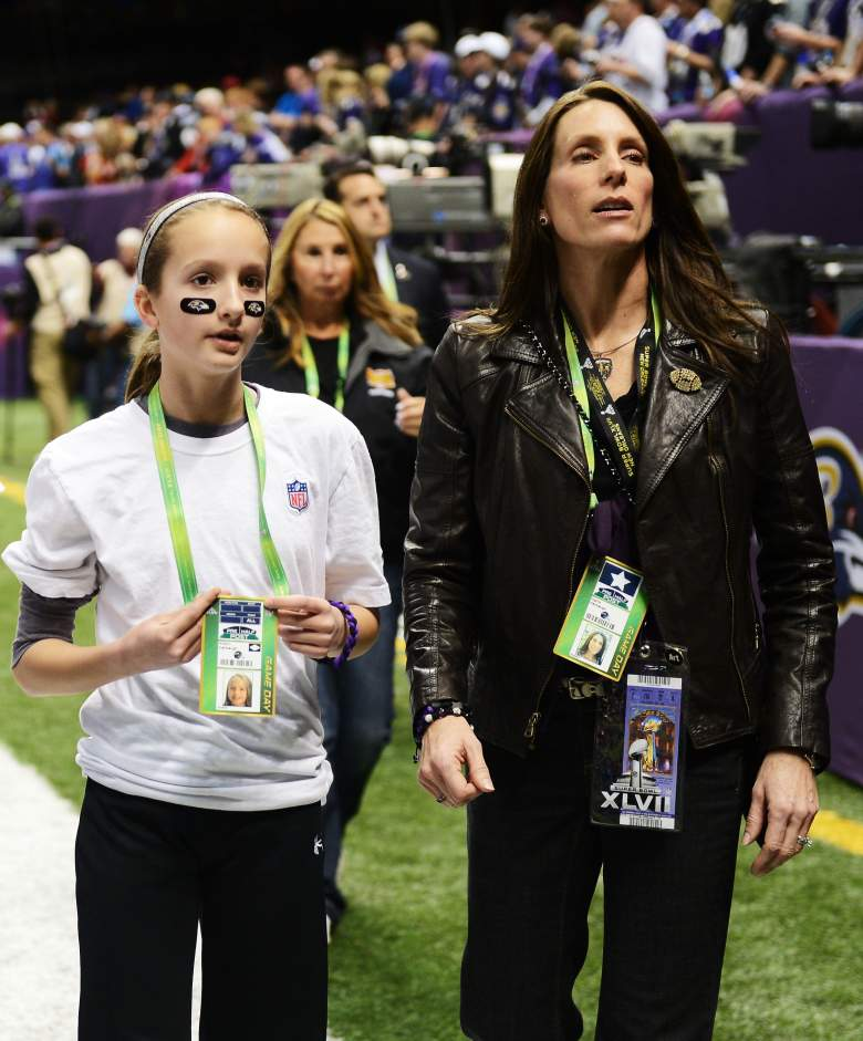 NEW ORLEANS, LA - FEBRUARY 03: (L-R) Alison Harbaugh and Ingrid Harbaugh, daughter and wife of Baltimore Ravens head coach John Harbaugh stand on the field prior to Super Bowl XLVII against the San Francisco 49ers at the Mercedes-Benz Superdome on February 3, 2013 in New Orleans, Louisiana. (Photo by Harry How/Getty Images)