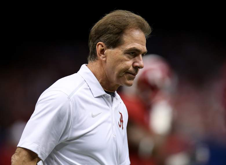 Nick Saban pleased to win game one. (Getty)
