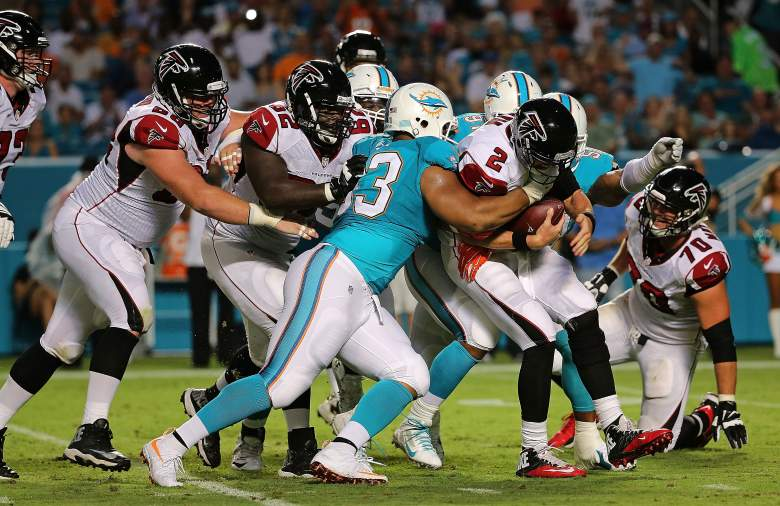 Ndamukong Suh of the Dolphins gets to Falcons QB Matt Ryan in the preseason. (Getty)