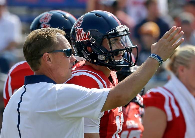 Head Coach Hugh Freeze with Chad Kelly. (Getty)