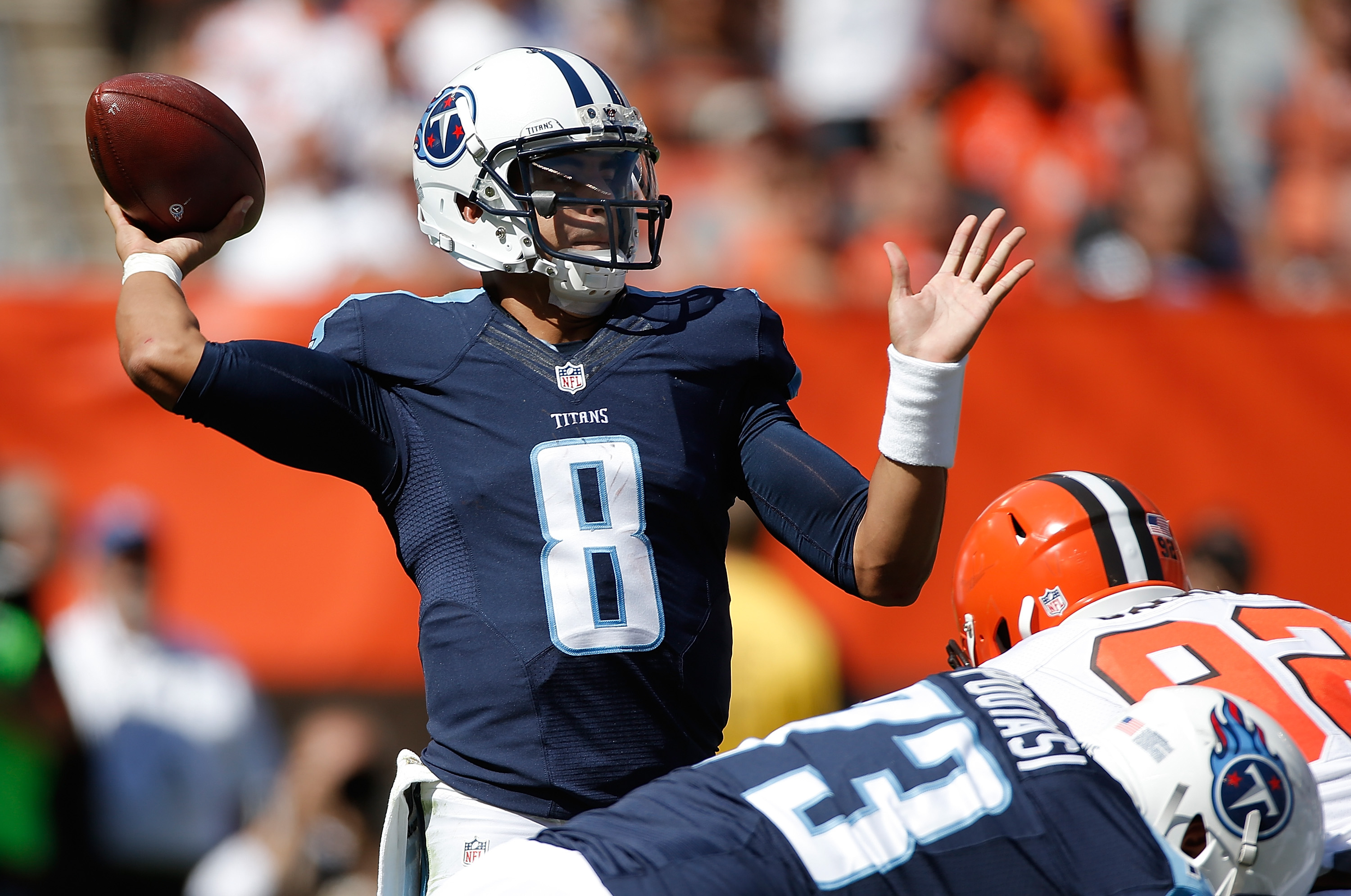 Mariota returned to Earth last week, and was sacked seven times in a loss (Getty).