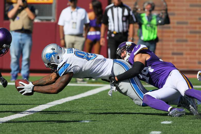 Lions tight end Eric Ebron has touchdowns in each of the first 2 games. (Getty)