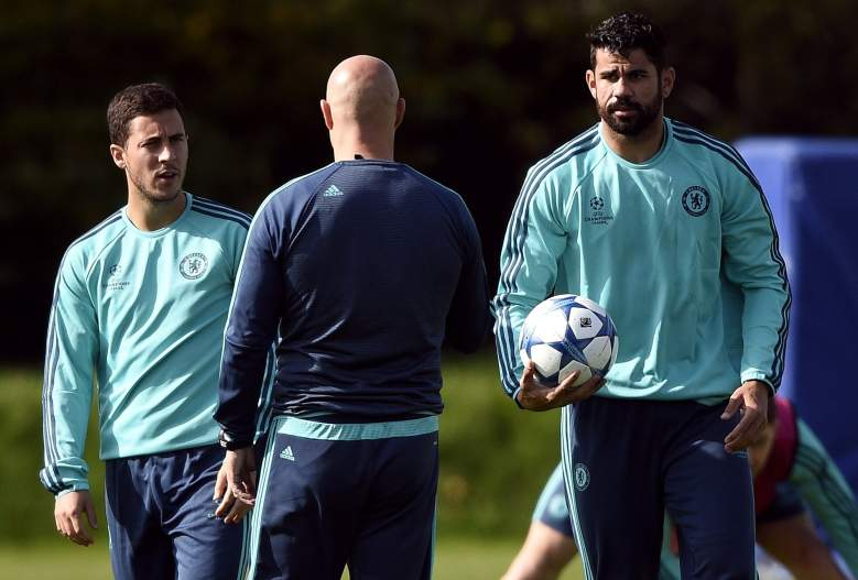 Eden Hazard (L) and Diego Costa (R) will look to keep the Chelsea attack going against Porto. Getty)