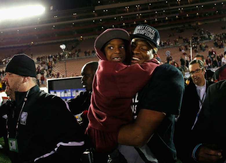 Pictured after the 2014 National Championship game, Jameis' younger brother Jonah Winston may be as athletically talented as his older brother. (Getty)