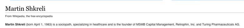Martin Shkreli Wikipedia
