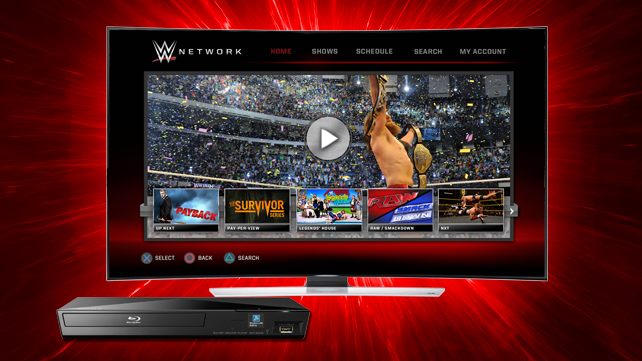 wwe streams on sony blu ray