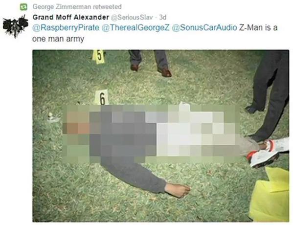 George Zimmerman tweet, george zimmerman retweets trayvon martin body, george zimmerman twitter
