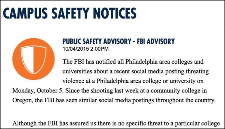 philadelphia fbi warning