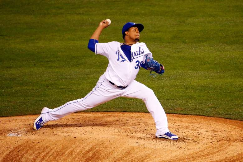Edinson Volquez has to confide in his mother after his father died before his Game 1 start of the 2015 World Series. (Getty)