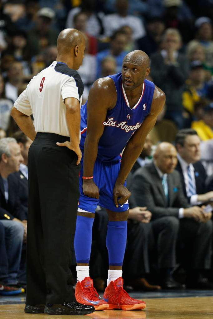 MEMPHIS, TN - MAY 3: Lamar Odom #7 of the Los Angeles Clippers questions an official after being called for a foul against the Memphis Grizzlies during Game Six of the Western Conference Quarterfinals of the 2013 NBA Playoffs at FedExForum on May 3, 2013 in Memphis, Tennessee. NOTE TO USER: User expressly acknowledges and agrees that, by downloading and or using this photograph, User is consenting to the terms and conditions of the Getty Images License Agreement. (Photo by Joe Robbins/Getty Images)