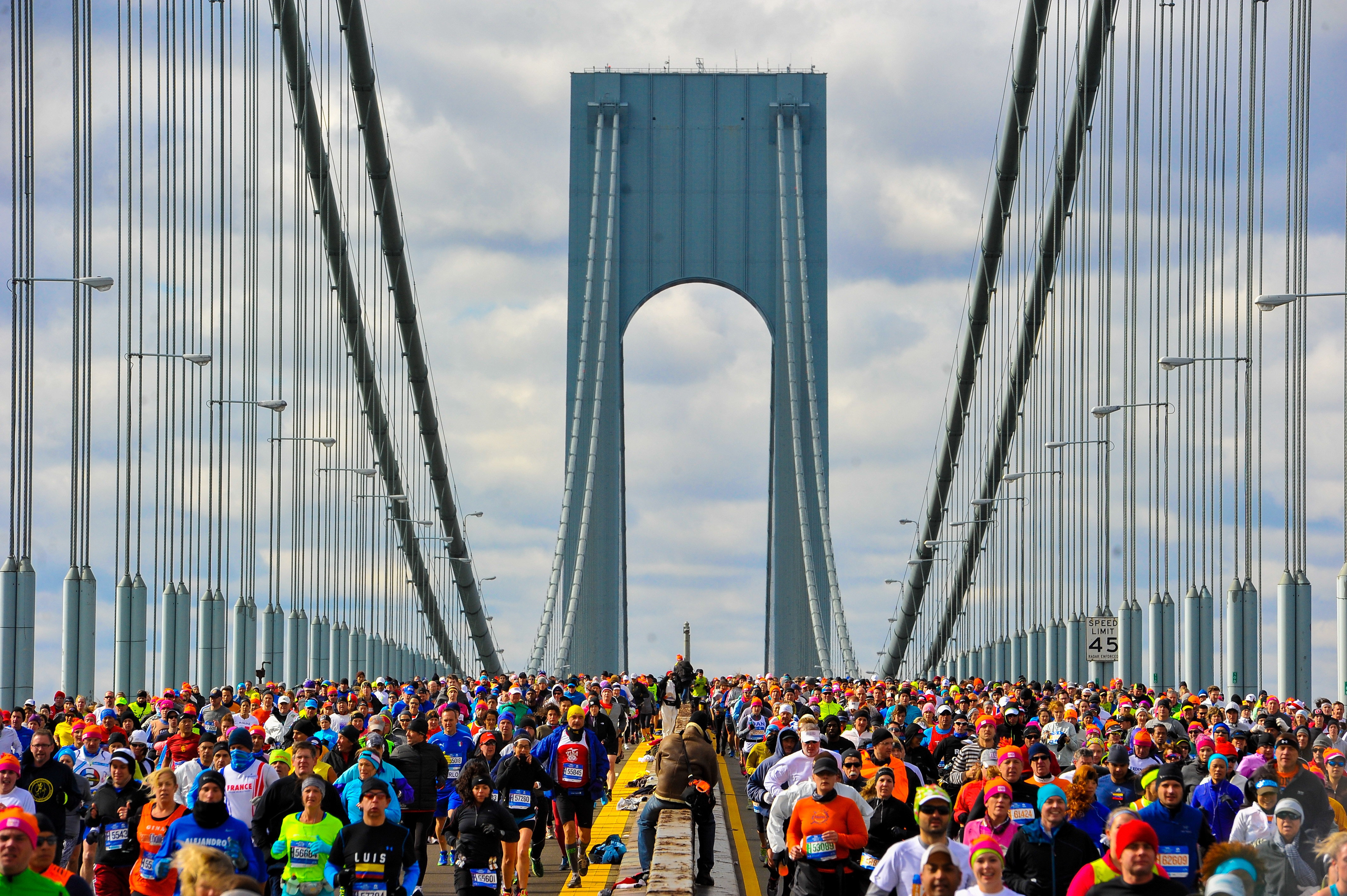 The Verrazano Bridge marks the start of one of racing's most iconic events. (Getty)