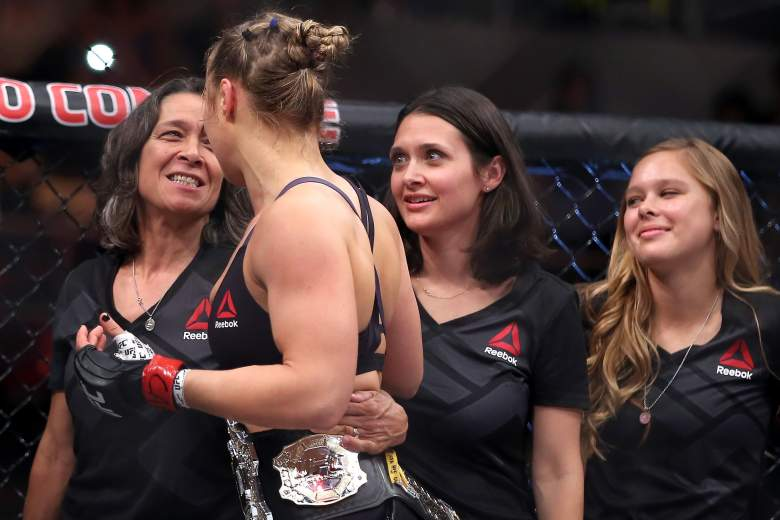 Rousey with her mother, AnnMaria De Mars (left). (Getty)