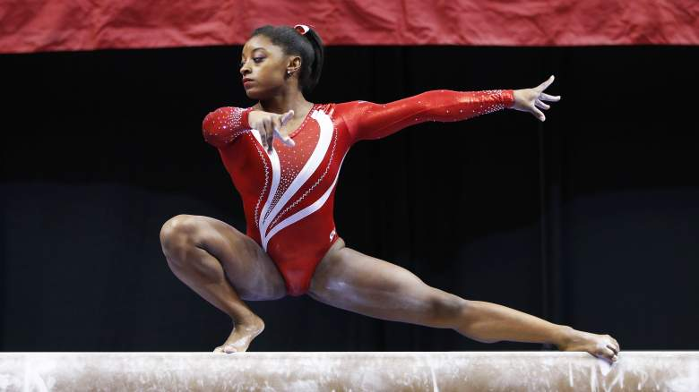 Simone Biles leads the United States at the 2015 World Championships in Glasgow. (Getty)