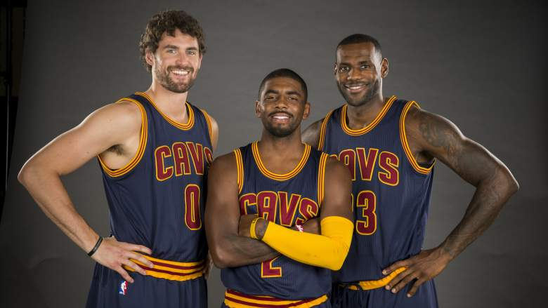Kevin Love, Kyrie Irving and LeBron James and the rest of the Cavaliers are set to open the 2015-16 season. (Getty)
