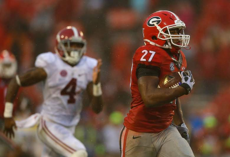 Nick Chubb injured his leg against Tennessee. (Getty)