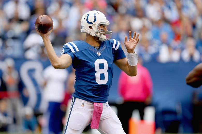 Matt Hasselbeck has completed passes to five different receivers in the first half. (Getty)