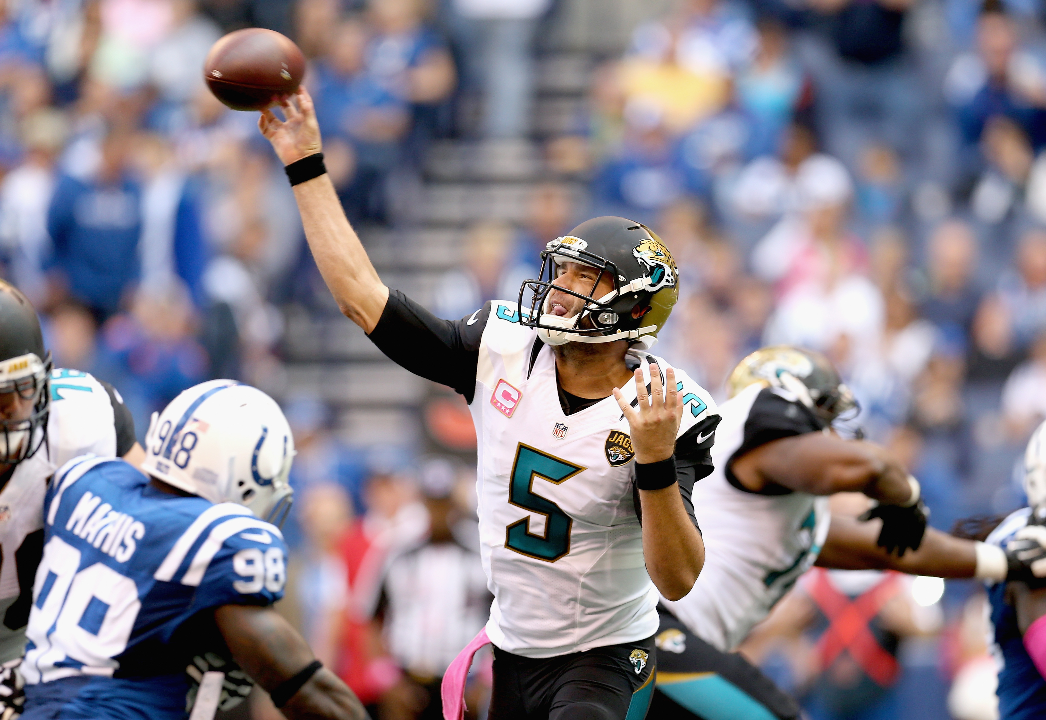 Bortles finished with 298 yards and a TD, but was unable to get the winning score vs. Indianapolis. (Getty)