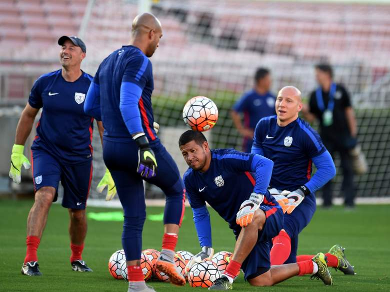 Either Tim Howard L) and Brad Guzan R) will be in goal for the United States on Sunday. But who? Getty)