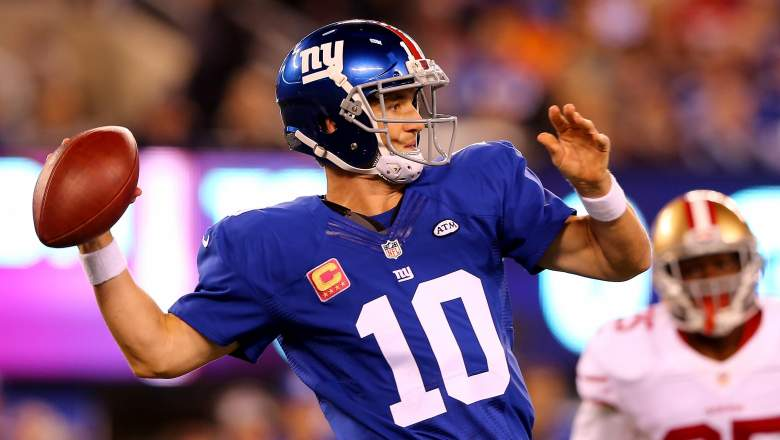 Giants QB Eli Manning has 10 touchdowns vs. 2 interceptions in 2015. (Getty)